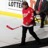 Manny Legace is introduced during the ceremony following the final game at Joe Louis Arena.