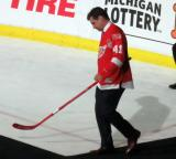 Brent Gilchrist is introduced during the ceremony following the final game at Joe Louis Arena.