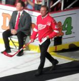 Eddie Mio is introduced during the ceremony following the final game at Joe Louis Arena.
