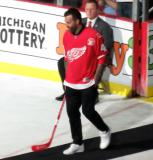 Todd Bertuzzi is introduced during the ceremony following the final game at Joe Louis Arena.