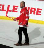 Aaron Downey is introduced during the ceremony following the final game at Joe Louis Arena.