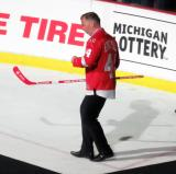 Anders Eriksson is introduced during the ceremony following the final game at Joe Louis Arena.