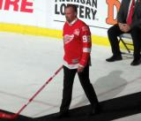 Tomas Holmstrom is introduced during the ceremony following the final game at Joe Louis Arena.