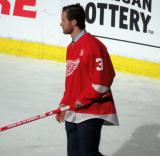 Nick Jensen is introduced during the ceremony following the final game at Joe Louis Arena.