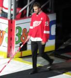 Riley Sheahan is introduced during the ceremony following the final game at Joe Louis Arena.