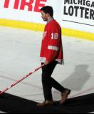 Robbie Russo is introduced during the ceremony following the final game at Joe Louis Arena.