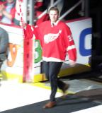 Jimmy Howard is introduced during the ceremony following the final game at Joe Louis Arena.