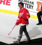Luke Glendening is introduced during the ceremony following the final game at Joe Louis Arena.