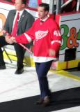 Ben Street is introduced during the ceremony following the final game at Joe Louis Arena.