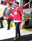 Ryan Sproul is introduced during the ceremony following the final game at Joe Louis Arena.
