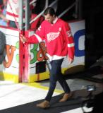 Jonathan Ericsson is introduced during the ceremony following the final game at Joe Louis Arena.