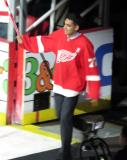 Andreas Athanasiou is introduced during the ceremony following the final game at Joe Louis Arena.
