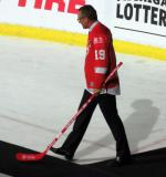 Steve Yzerman is introduced during the ceremony following the final game at Joe Louis Arena.