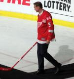 Nicklas Lidstrom is introduced during the ceremony following the final game at Joe Louis Arena.