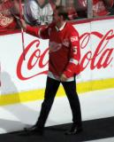 Nicklas Lidstrom waves to fans during the ceremony following the final game at Joe Louis Arena.