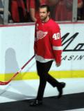 Henrik Zetterberg is introduced during the ceremony following the final game at Joe Louis Arena.