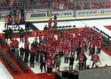 Current and former Red Wings disperse following the ceremony after the last game at Joe Louis Arena.