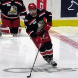 Dylan McIlrath skates in the neutral zone during pre-game warmups before a Grand Rapids Griffins playoff game.