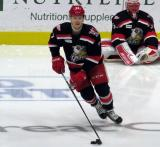 Evgeny Svechnikov skates in the neutral zone during pre-game warmups before a Grand Rapids Griffins playoff game.