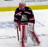 Jared Coreau skates in the neutral zone during pre-game warmups before a Grand Rapids Griffins playoff game.