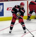 Matt Lorito stickhandles during pre-game warmups before a Grand Rapids Griffins playoff game.