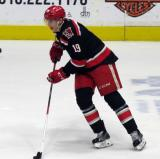 Tomas Nosek skates with a puck during pre-game warmups before a Grand Rapids Griffins playoff game.