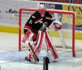 Jared Coreau gets set in his crease during a Grand Rapids Griffins playoff game.
