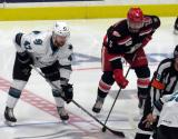 Joakim Ryan of the San Jose Barracuda lines up next to Robbie Russo of the Grand Rapids Griffins during a playoff game.