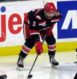 Robbie Russo gets set for a faceoff during a Grand Rapids Griffins playoff game.