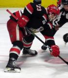 Dominic Turgeon takes a faceoff during a Grand Rapids Griffins playoff game.