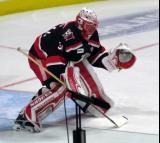Jared Coreau comes out to the top of his crease during pre-game warmups before a Grand Rapids Griffins Calder Cup Finals game.