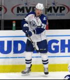 Adam Erne of the Syracuse Crunch skates near the boards during pre-game warmups before a Calder Cup Finals game against the Grand Rapids Griffins.