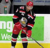 Matt Lorito skates near the bench during pre-game warmups before a Grand Rapids Griffins Calder Cup Finals game.