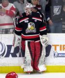 Eddie Pasquale stands at the boards during pre-game warmups before a Grand Rapids Griffins Calder Cup Finals game.