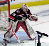 Eddie Pasquale squares to a shooter during pre-game warmups before a Grand Rapids Griffins Calder Cup Finals game.