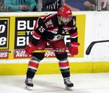 Matthew Ford gets set for a faceoff during a Grand Rapids Griffins Calder Cup Finals game.