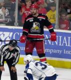 Dylan McIlrath gets set for a faceoff during Game Six of the Calder Cup Finals between the Grand Rapids Griffins and Syracuse Crunch.