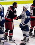 Brian Lashoff shakes hands with Cory Conacher of the Syracuse Crunch following the Grand Rapids Griffins' Calder Cup Championship.