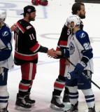 Daniel Cleary shakes hands with Matthew Peca of the Syracuse Crunch following the Grand Rapids Griffins' Calder Cup Championship.