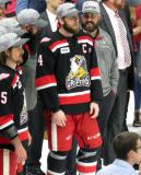 Nathan Paetsch stands with his team before the presentation of the Calder Cup to the Grand Rapids Griffins.