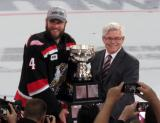 Nathan Paetsch accepts the Calder Cup on behalf of the Grand Rapids Griffins.