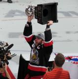 Nathan Paetsch raises the Calder Cup.
