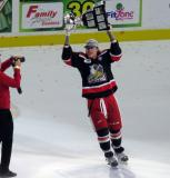 Tyler Bertuzzi skates with the Calder Cup.
