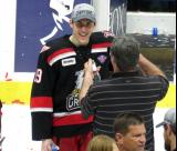 Tomas Nosek takes part in a post-game interview during the celebration of the Grand Rapids Griffins' Calder Cup Championship.