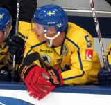 Gustav Lindstrom of Team Sweden watches from the bench during a game against Team Finland in the 2017 World Junior Summer Showcase.