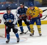 Janne Kuokkanen and Robin Salo of Team Finland fight for position at the side of the net with Glenn Gustafsson of Team Sweden in the 2017 World Junior Summer Showcase.
