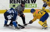 Joni Ikonen of Team Finland takes a faceoff against Lias Andersson of Team Sweden in the 2017 World Junior Summer Showcase.