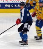 Kasper Kotkansalo of Team Finland skates in the defensive zone during a game against Team Sweden in the 2017 World Junior Summer Showcase.