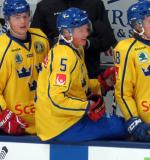 Gustav Lindstrom of Team Sweden gets ready to high-five a teammate at the bench during a game against Team Finland in the 2017 World Junior Summer Showcase.