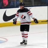 Jonah Gadjovich of Team Canada skates near the goal before a game against Team USA at the 2017 World Junior Summer Showcase.